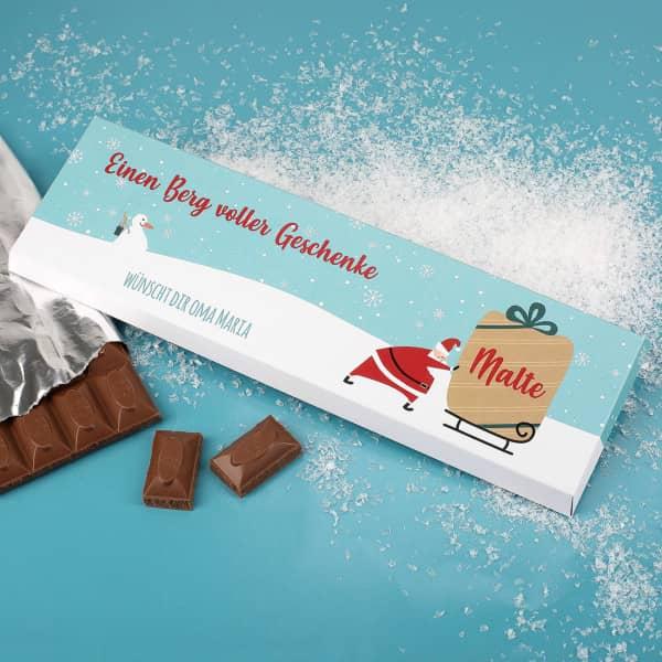 300 gr Schokolade mit Weihnachtsmann, Name und Wunschtext