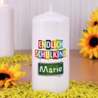 Endlich Schulkind - Kerze mit Name