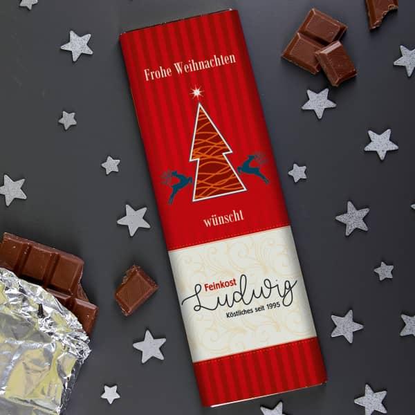 xl schokolade 300g zu weihnachten mit ihrem firmenlogo. Black Bedroom Furniture Sets. Home Design Ideas