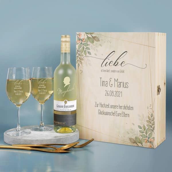 Wein Geschenkset mit zwei Gläsern, Maybach Wein und bedruckter Holzbox