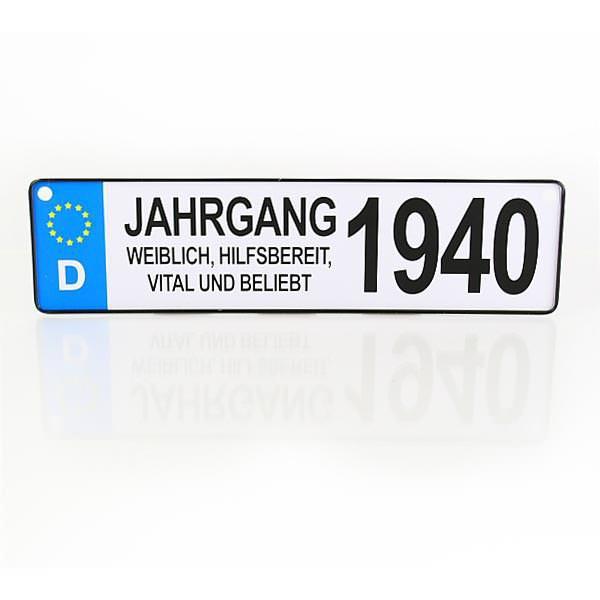 Autokennzeichen für Frauen - Jahrgang 1940