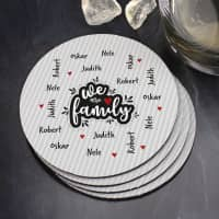 We are family - Untersetzer mit vier Namen (4er Set)
