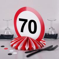Tisch-Aufsteller mit 70er Verkehrszeichen