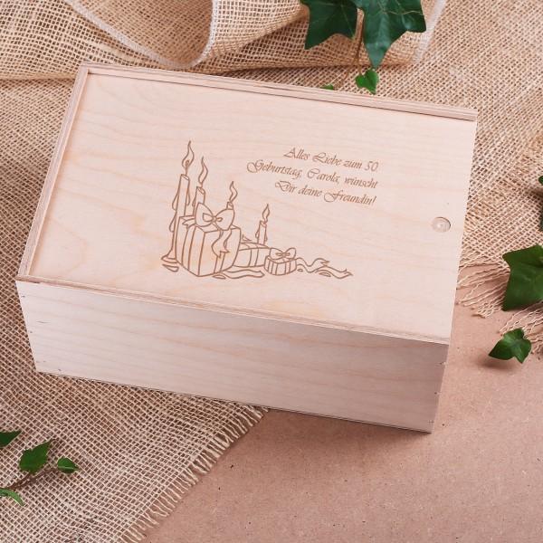 Holzkiste als Geschenkverpackung mit Gravur