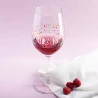 Konfetti Weinglas zum Geburtstag mit Ihrem Wunschnamen