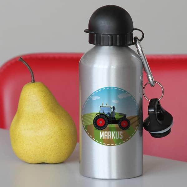Trinkflasche in Silber mit Traktor und Ihrem Wunschnamen bedruckt