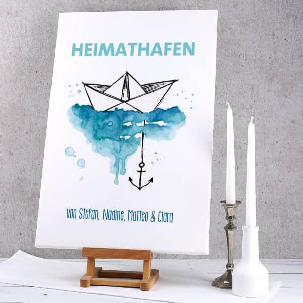 Heimathafen - Leinwand mit Papierschiffchen, Anker und Wunschtext 60x40cm