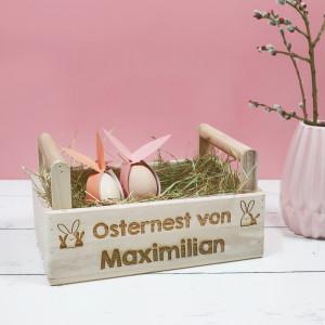 Holzkiste zu Ostern mit Gravur