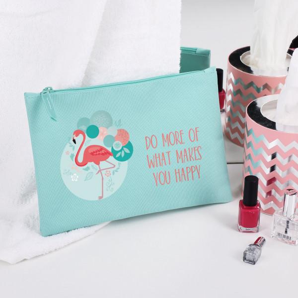 Beautycase mit Flamingo und Wunschtext