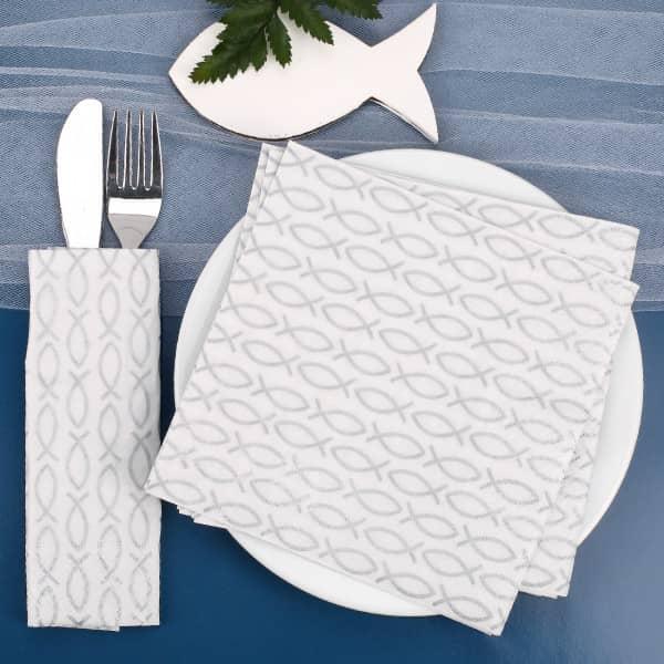 Partybedarfpartydeko - Servietten für religiöse Anlässe mit silbernen Fisch Symbolen - Onlineshop Geschenke online.de
