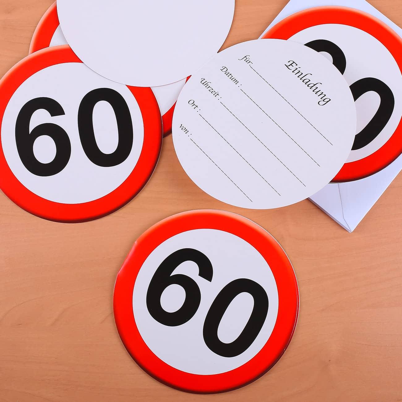 einladungskarten set mit verkehszeichen zum 60 geburtstag geschenke. Black Bedroom Furniture Sets. Home Design Ideas