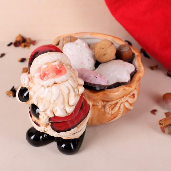 Keramikschale mit Weihnachtsmann und Sack