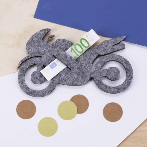 Geldgeschenk Aus Grauen Filz Motorrad