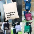 Einkaufstasche mit Ihren Hashtags bedruckt