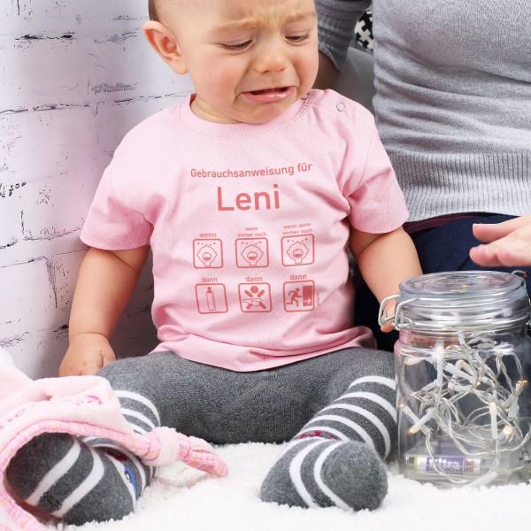 Rosa T Shirt mit Gebrauchsanweisung für Babys