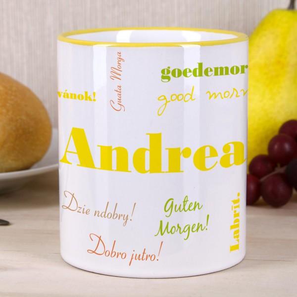 Tasse - Guten Morgen - in verschiedenen Sprachen mit Wunschnamen