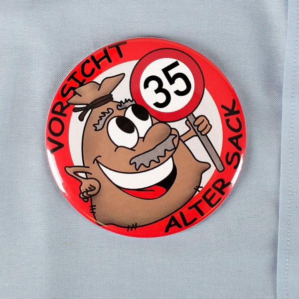 lustiger Riesen-Anstecker zum 35. Geburtstag