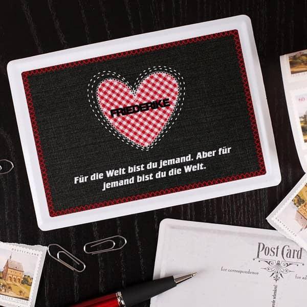 Blechpostkarte zum Valentinstag