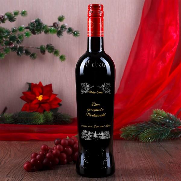 Gravierte Weinflasche zu Weihnachten