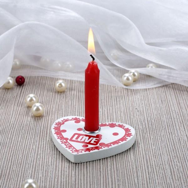 LOVE Kerzenständer in Herzform mit Minikerze