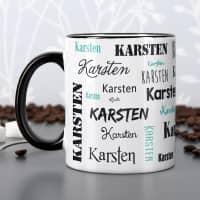 Tasse mit Ihrem Namen in verschiedenen Schriftarten - schwarz