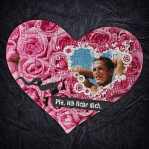 Großes Herz Puzzle in Rosenoptik mit Foto und Wunschtext