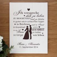 Leinwand 30 x 40 cm mit Ehegelübde und Wunschnamen