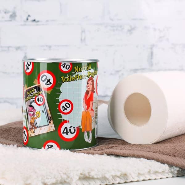 Notfall Toilettenpapier in der Dose zum 40. Geburtstag