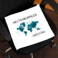 Sitzkissen für Weltenbummler mit Wunschnamen