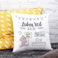 Personalisiertes Kissen zur Geburt für Jungen als Babygeschenk