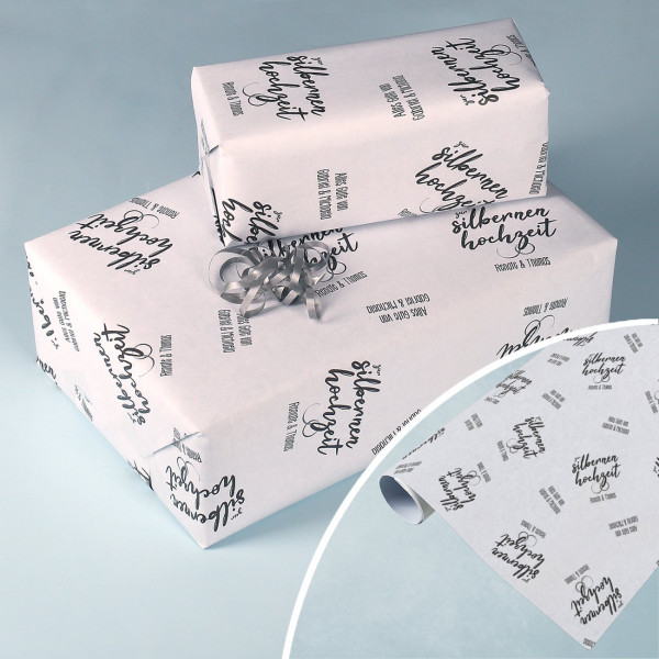 Geschenkpapier zur silbernen Hochzeit