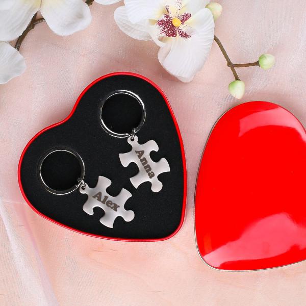 Wunschnamen Schlüsselanhänger Puzzleteile Valentinstag Hochzeit Puzzle