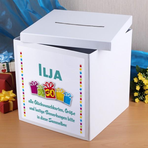 Kartenbox zur Geburtstagsfeier mit Name, Alter und Wunschtext