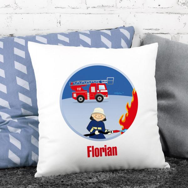 bedrucktes kissen mit name feuerwehrmann feuerwehrauto und flammen. Black Bedroom Furniture Sets. Home Design Ideas