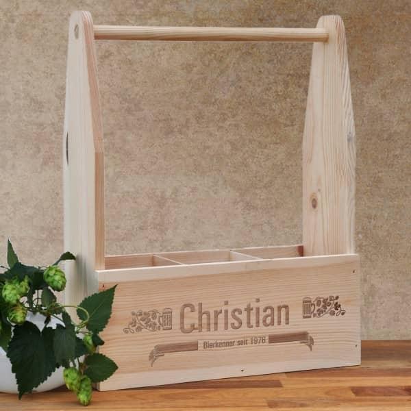Holzkiste - Bierträger aus Holz mit persönlicher Gravur, Name, Geburtsjahr