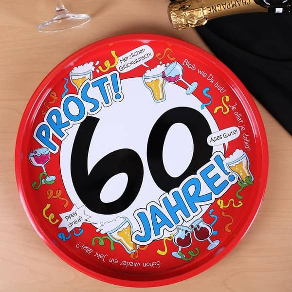 Metalltablett zum 60. Geburtstag