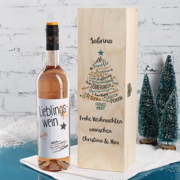 Lieblingswein zu Weihnachten in bedruckter Holzbox