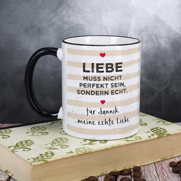 personalisierte tasse zum valentinstag mit spruch liebe muss nicht perfekt sein sondern echt. Black Bedroom Furniture Sets. Home Design Ideas