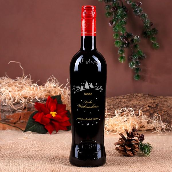 Persönliche Weinflasche mit Gravur und weihnachtlichen Motiv