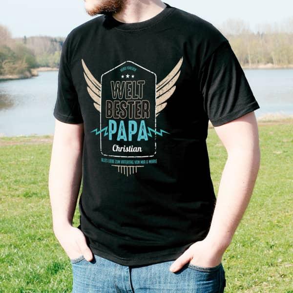Weltbester Papa T Shirt mit Name und Wunschtext