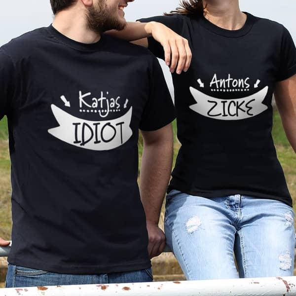 Partner Fun Shirts mit Namensaufdruck Idiot und Zicke