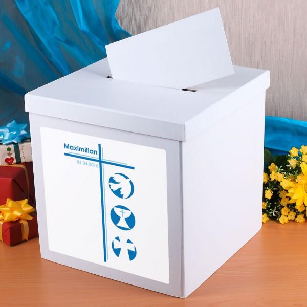 Kartenbox für Jungen zur Konfirmation mit Namen und Datum