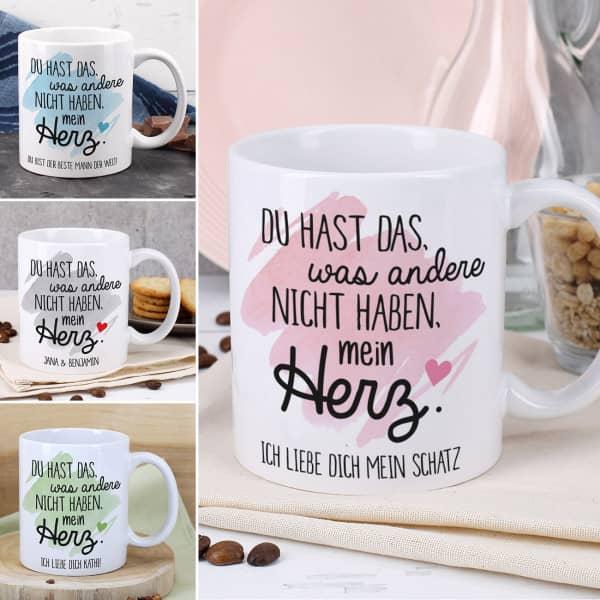 Tasse zum Valentinstag in vier Farben