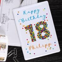 Blechpostkarte zum 18. Geburtstag