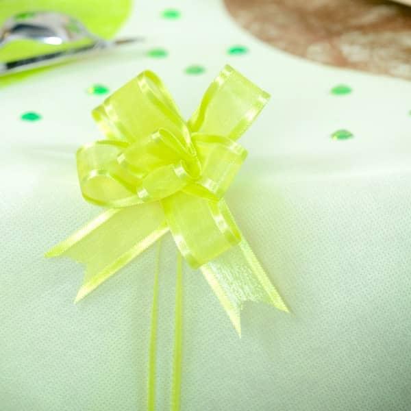 5 grüne Ziehschleifen aus Organza