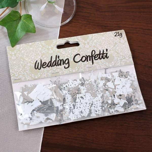 Hochzeitskonfetti in silber und weiß