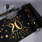 Tischläufer aus Vlies zum 20. Geburtstag - schwarz/gold