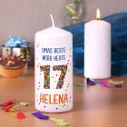 Kerze zum 17. Geburtstag mit Name und Wunschtext