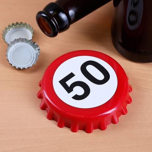 Flaschenöffner zum 50. Geburtstag mit Magneten