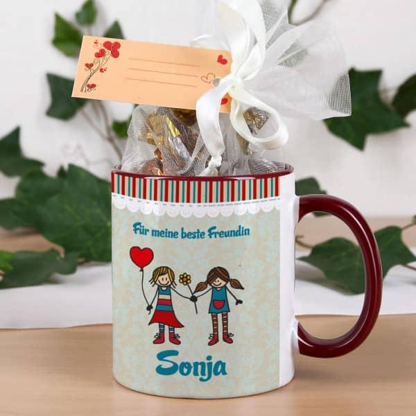 Geschenk-Set mit bedruckter Tasse und Pralinen